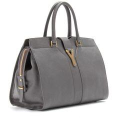 Saint Laurent Medium Cabas Chyc East/West Leather Bag ($1,938) ❤ liked on Polyvore