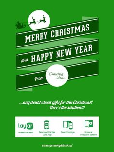 This shoppable Christmas greeting card was created by Layar certified partner Growing Ideas. Nice job!