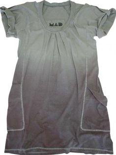Vestido com Bolsos Estonado Cinza