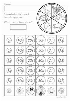 Australian Money No Prep Worksheets. Colour the coin with the matching picture.