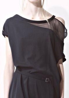 Black top with transparent shoulder