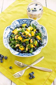 Mango Blueberry Kale Salad with Toasted Sesame Oil Dressing / Patty's Food