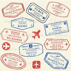 Passport stamp set — Stock Vector © tupungato #34848085