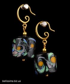 "Серьги ""Весенний ветер"" (квадрат) Handmade jewelry, lampwork earrings, blue, black"