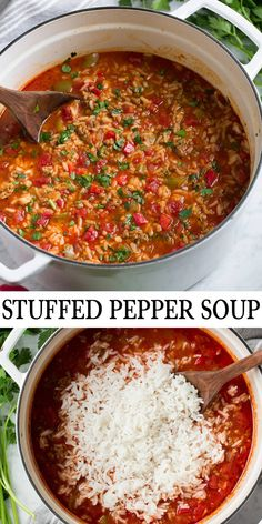 Stuffed Pepper Soup – Cooking Classy Stuffed Pepper Soup – An easy, hearty and comforting stuffed pepper soup that's so easy to make and something the whole family will love. New Recipes, Soup Recipes, Vegetarian Recipes, Dinner Recipes, Favorite Recipes, Slow Cooker Recipes, Crockpot Recipes, Cooking Recipes, Venison Recipes