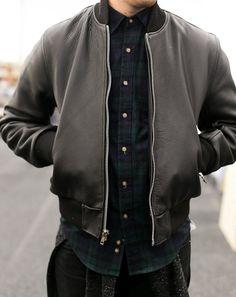 leather varsity + plaid