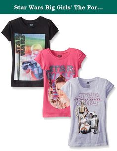 Star Wars Big Girls' The Force Awakens Episode 7 Graphic T-Shirt, Assorted, 8/10 (Pack of 3). Star Wars episode 7 the force awakens movie girls 7-16 sizing graphic T-shirt 3-pack.