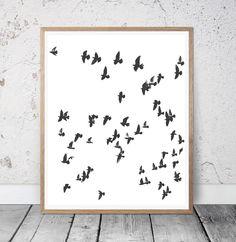 birds print, Birds abstract, birds wall art, black and white poster, flying wall decor, modern art, most sold, minimalism, minimal print by S4StarSbySiSSy on Etsy https://www.etsy.com/ca/listing/527893779/birds-print-birds-abstract-birds-wall