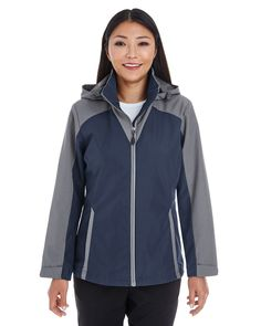 Ash City North End NE700W - Ladies' Embark Colorblock Interactive Shell with Reflective Printed Panels #ashcity #womensouterwear