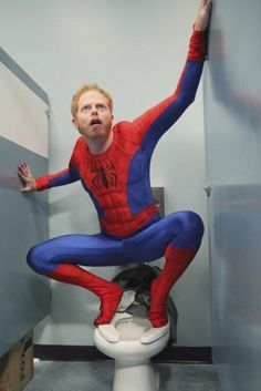 Mitchell (Jesse Tyler Ferguson) has a rough day at the office while wearing this Spiderman costume on the Halloween episode of Modern Family.