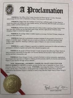 PRINCE GEORGE'S COUNTY, MD – County Executive proclamation recognizing Diaper Need Awareness Week (Sept 25-Oct 1) #DiaperNeed Diaperneed.org