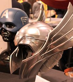 2012-Thor's Helmet & Captain America's Mask Props at the EFX Booth at Wonder Con-01 by David Cummings62, via Flickr