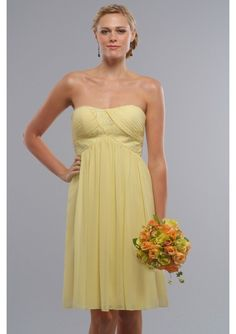 Elegant yellow Chiffon modified Sweetheart Empire short bridesmaid dress