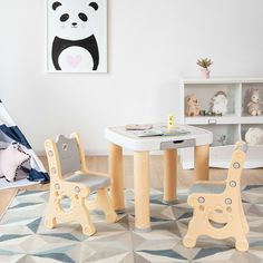 This kids table and chair set can be used for a long time and accompany children to grow up. This set includes two comfortable chairs and a small table. Environmentally friendly and safe PP material has excellent durability and will not harm your child's health. Besides, kids can eat, draw, study or play at this table and enjoy their own happy time. With a cute and stylish design, it fits any room in your home.