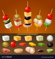 Skewer Appetizers Wedding Appetizers Appetisers Appetizer Recipes Dessert Recipes First Finger Foods Breakfast Crepes Fingerfood Food Design Party Finger Foods, Finger Food Appetizers, Snacks Für Party, Appetizers For Party, Appetizer Recipes, Toothpick Appetizers, Party Party, Party Ideas, Party Food Platters