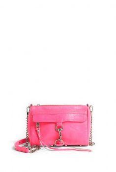 Neon Pink Mini Mac Clutch with Chain Shoulder Strap by Rebecca Minkoff