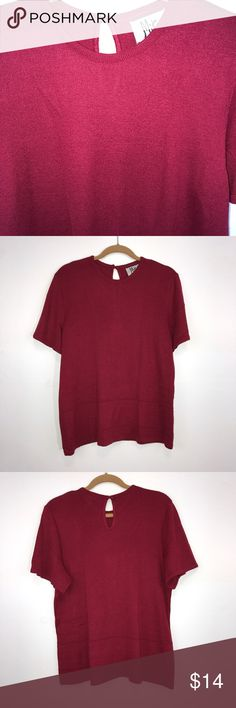 "Mita Red-Berry Woman's Knit Top 18 Mita red-berry woman's knit, short sleeve top. Beautiful, tight woven knit.  Minor piling at bottom edge (shown in picture).  Acrylic/nylon blend. Hand wash. Lying flat, approximate measurements are: bust 22""; waist 22""; hip 22""; length 26"".  (L02-19)    🌼 No holes, piling or stains. Items stored in smoke free, pet free, perfume free environment. No trades or modeling. Same or next day shipping.  Save by bundling. All offers should be submitted with the…"