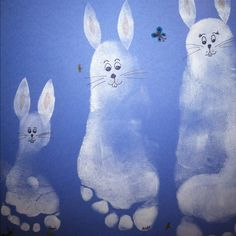 Easter Bunny feet prints. Use a white stamp pad to make a foot print on blue paper. Cut fun foam in shape of ears and stamp them near heal of foot print. Draw on a bunny face with black marker and add details.