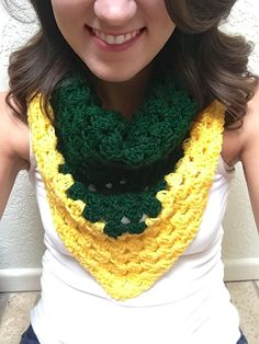 Hand-crocheted triangle scarf in Baylor green and gold