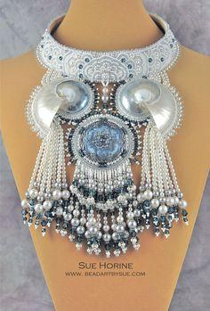 Neptunes Inner Circle - bead embroidered and fringed necklace by Sue Horine (sedonaskye on Etsy)