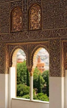 "A view of the Alhambra Palace, in Granada, Andalusia. The calligraphy reads ""و لا غالب إلا الله"" - ""There is no victor besides Allah"". The Alhambra was completed by the last Muslim state of Spain, Granada in the — at La Alhambra. Islamic Architecture, Amazing Architecture, Art And Architecture, Architecture Details, Granada Andalucia, Andalusia Spain, Art Beauté, Spain And Portugal, Islamic Art"