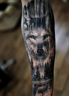 Completely healed black and gray/blue wolf tattoo. Artist Maris Pavlo Completely healed black and gray/blue wolf tattoo. Wolf Tattoo Forearm, Wolf Tattoo Sleeve, Full Sleeve Tattoo Design, Full Sleeve Tattoos, Tattoo Wolf, Head Tattoos, Dog Tattoos, Animal Tattoos, Cute Tattoos