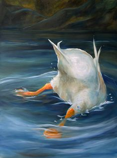 PRINT Whimsical Duck Butt Art Oil Painting Swim Lake / Mary Sparrow