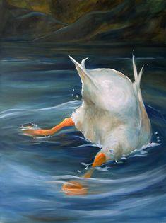 PRINT Whimsical Duck Butt Art Oil Painting Swim Lake / Mary Sparrow