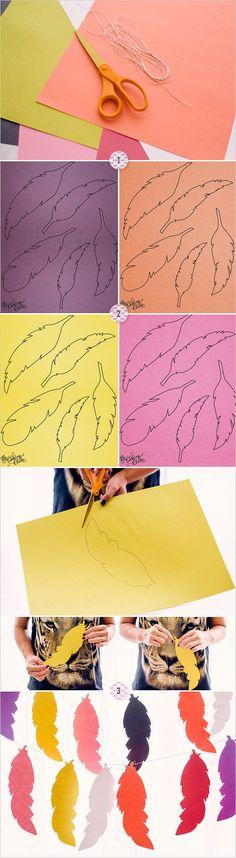 super easy feather bunting diy tutorial #DIY #thanksgiving #crafting http://www.weddingchicks.com/2013/11/22/diy-feather-bunting/