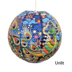 Peacock Decorative Hanging Paper Lantern with Light Kit (Up to 40 Watt Bulb) - 13.75 Diameter - With 15 Cord - Recycled Paper by Blue Q, http://www.amazon.com/dp/B008PF3GVC/ref=cm_sw_r_pi_dp_Mlcyrb1430YYH