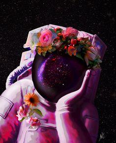 The Pink Astronaut Art Print by Noha - X-Small Space Artwork, Wallpaper Space, Tumblr Wallpaper, Aesthetic Iphone Wallpaper, Galaxy Wallpaper, Astronaut Wallpaper, Vladimir Kush, Galaxy Art, Psychedelic Art