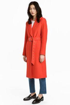 Wool-blend coat - Neon orange - Ladies   H&M GB 1