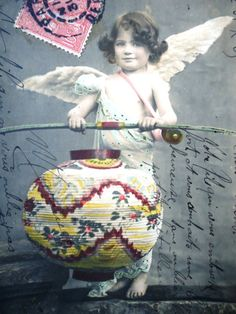 Antique angel postcard  Cupid little girl angel by LizKnijnenburg