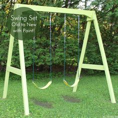 I LOVE this swing set makeover using PAINT!/ DIY Wood Swing Set with new paint