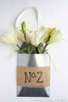 May Day Gift Idea: Front Door Flower Basket Using Fresh Lilies by Design, Dining + Diapers