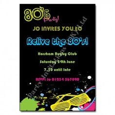 80s Party! Invitation | 80s Theme Party Invites
