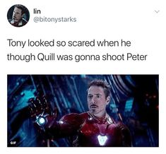 Tony thought Peter would die so many times and then it just happened. He finally died, so heartbreaking. I wasn't really interested in Peter P/Spider Man but seeing his death cause Tony so much pain broke my heart 😟😞 Funny Marvel Memes, Marvel Jokes, Avengers Memes, Disney Marvel, Marvel Avengers, Marvel Comics, The Avengers, Iron Man Tony Stark, Dc Movies