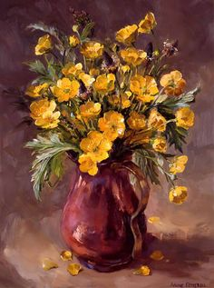 Buttercups in Copper | Mill House Fine Art – Publishers of Anne Cotterill Flower Art