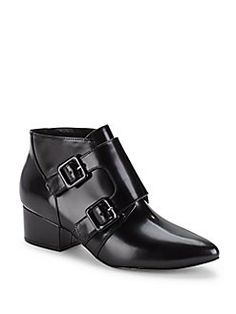 French Connection - Roree Point Toe Leather Ankle Boots