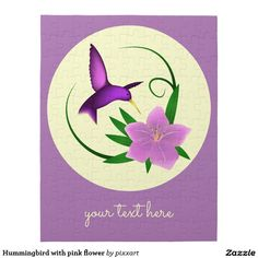 Hummingbird with pink flower jigsaw puzzle