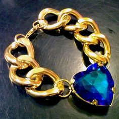 Crystal Heart Charm Bracelet - Bermuda Blue Swarovski - Gold