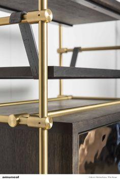 Custom brass shelving- wine storage unit with unique hang shelves