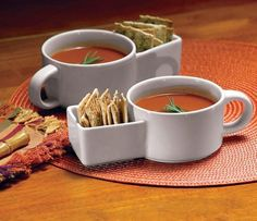 Soup And Cracker Ceramic Mugs http://coolpile.com/home-stuff-magazine/soup-and-cracker-ceramic-mugs/  via CoolPile.com - $14.95 -  Amazon.com, Food, Gifts For Her, Gifts For Him, Kitchen, Mugs