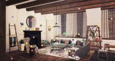 Someone requested a CC list and I have never done one like this before and I thought it would be fun! So here we go…      @peacemaker-ic: Floors, round mirror, painted brick, geometric wood sidetable, Color Me Gray rug, dining table, console table   @dreamteamsims: Folded throw tower, metal spheres, throw on couch, dining chairs, bottle, fall deco   @mio-sims: Living chair, pine cone, driftwood, small picture, couch and loveseat, stacked boxes, lamp, bookcase, books and boat, leather bag…
