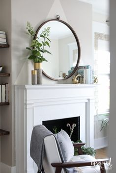 Color Lovers Bedroom Makeover: An eclectic Mid-Century Modern Guest Bedroom Makeover Inspired by Color. Above Fireplace Decor, Mirror Over Fireplace, Home Fireplace, Fire Place Mantle Decor, Bedroom With Fireplace, Corner Mantle Decor, White Fireplace Mantels, Mantle Mirror, Fireplaces