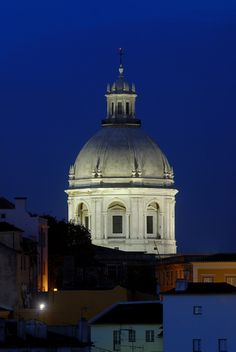 The Panteao at night in Lisbon, Portugal