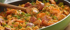 Louisiana-StyleCohicken, Sausage & Shrimp Skillet