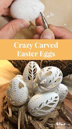 Crazy Carved Easter Eggs - Made By Barb . - Crazy Carved Easter Eggs – Made By Barb – DIY faux eggs look drilled and lacy Eggs Crazy - Easter Puzzles, Easter Activities For Kids, Easter Egg Dye, Coloring Easter Eggs, Egg Crafts, Easter Crafts, Bunny Crafts, Easter Decor, Easter Ideas
