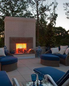 Outdoor fireplace. Symphony Design Home, Atlanta. Renaissance Development Corporation.
