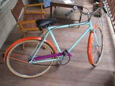 """Seriously inspiring color palette on this restored bike. Mint-orange-purple men's 21"""" Huffman (special order). Restoration by ReBrit Cycling.  #ridecolorfully"""